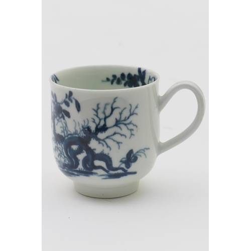 33 - Worcester blue and white coffee cup, in the prunus root pattern, circa 1770, workman's painted mark,...