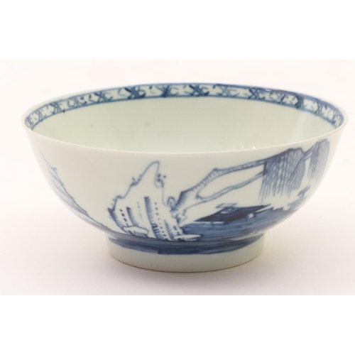 35 - Richard Chaffers, Liverpool, blue and white bowl, circa 1765, decorated with a rock and willow river...