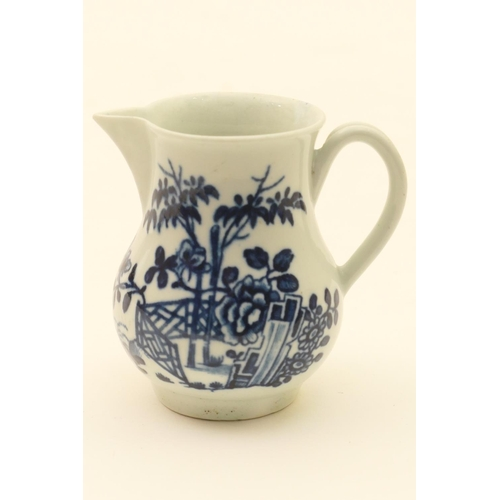 36 - Worcester blue and white sparrow beak jug, decorated with the plantation pattern, circa 1780, balust...