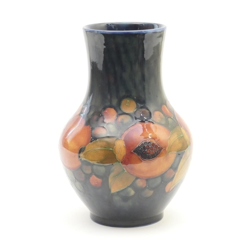 41 - Moorcroft Pomegranate baluster vase, circa 1930s/40s, with wide neck, impressed facsimile signature,...
