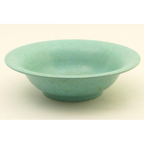 46 - Royal Lancastrian bowl, shape no. 3139, flared form decorated with an allover finely textured aqua g...