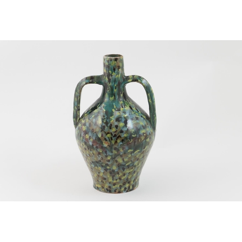 47 - Della Robbia art pottery Moorish vase, dated 1894, twin handled ovoid form, freely decorated with a ...