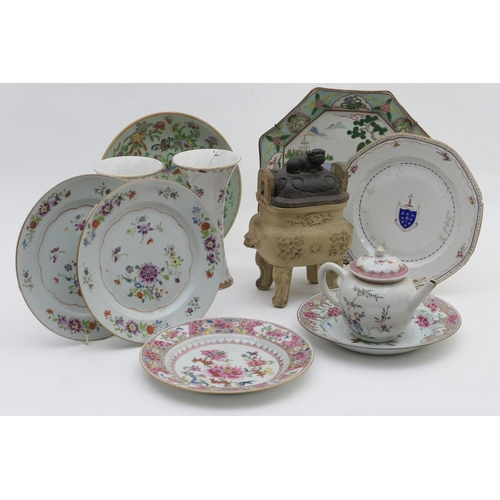 49 - Chinese famille rose export porcelain comprising: Armorial plate with Marquis of Normandy crest, 24....