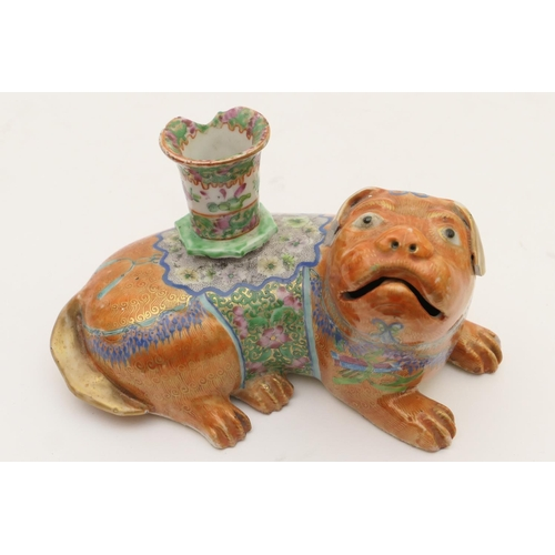 52 - Cantonese famille rose incense burner, 19th Century, formed as a dog, painted in blue and gilt terra...
