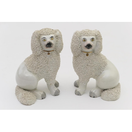 53 - Pair of Victorian Staffordshire poodle chimney ornaments, circa 1870, with white grog fur and colour...