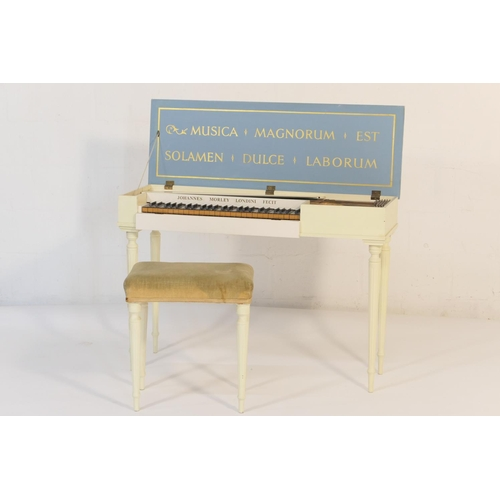 536 - Morley clavichord, the cream and white finished case opening to a 51 key keyboard, raised on turned ...