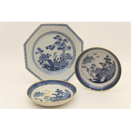 55 - Chinese blue and white export octagonal plate, Qianlong, decorated with peony, rock and fence patter...