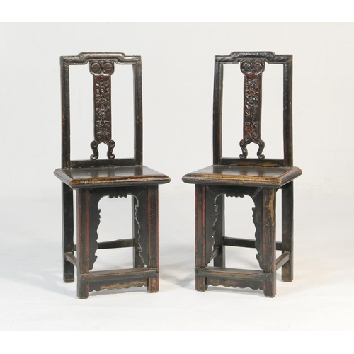 578 - Pair of Chinese elm wedding chairs, 18th or 19th Century, traditional form, each having a floral car...