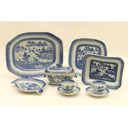 58 - Chinese blue and white export porcelain, early 19th Century, all decorated with a lakeside pagoda la...