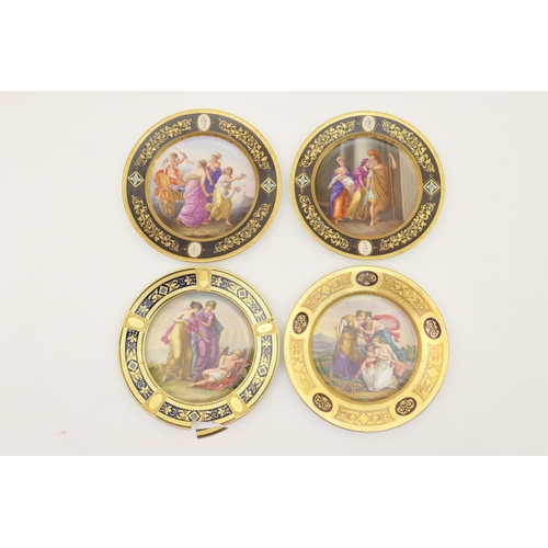 8 - Pair of Dresden hand decorated cabinet plates, early 20th Century, each decorated with a central cla...