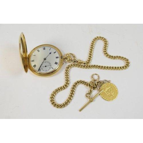 287 - George V 18ct gold hunter pocket watch, on an 18ct gold watch albert, the watch with monogrammed cov...