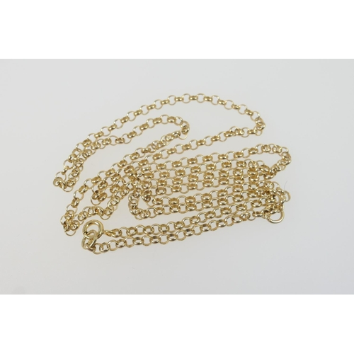 288 - 9ct gold belcher chain necklace, with ring clasp, length 70cm, weight approx. 10.5g...