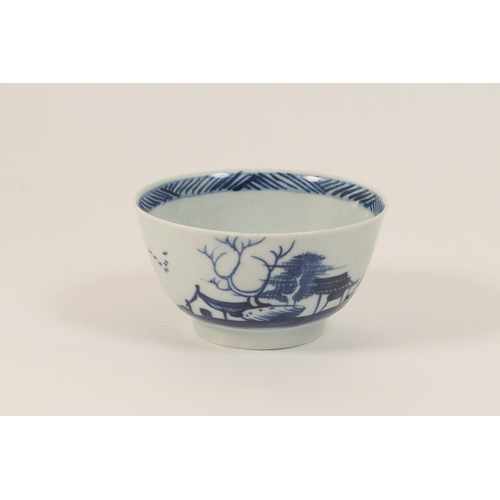 32 - Richard Chaffers, Liverpool, blue and white tea bowl, circa 1760, decorated with a winter house and ...