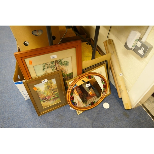 101 - Framed pictures and prints, oval mirror and unframed prints...