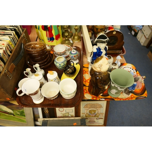 102 - Victorian Staffordshire Lord Nelson jug, other decorative ceramics including a Wedgwood vase (2 tray...