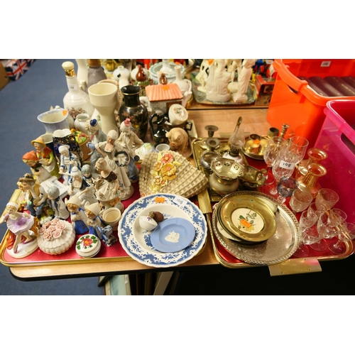 108 - Mixed decorative ceramics including figural ornaments and mixed silver plated and other metal wares ...