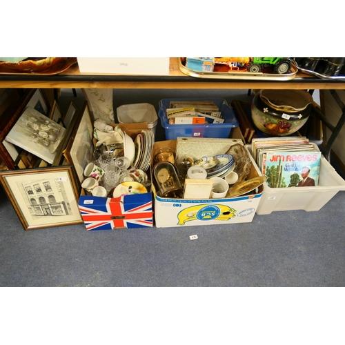 112 - Household ceramics, glassware, LP records, framed prints (a quantity)...