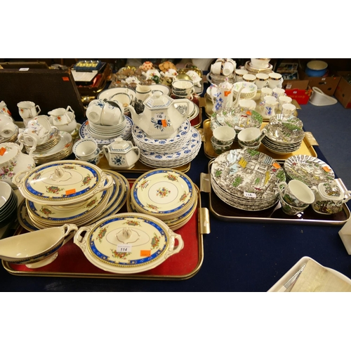 114 - Pottery dinner wares including Myott's Hunter pattern, Meakin etc (4 trays)...