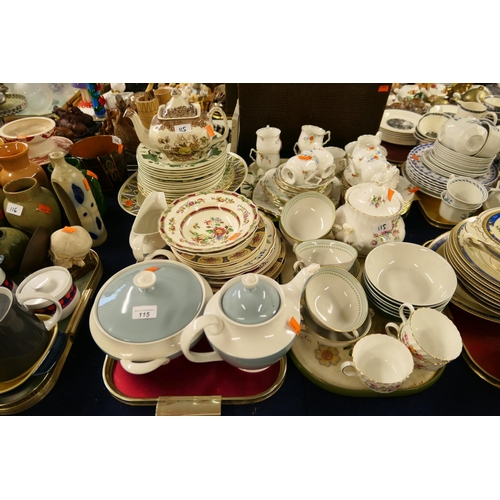 115 - China tea wares, other tea wares and dinner wares (3 trays)...