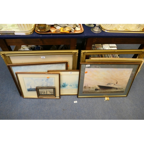 127 - Mixed framed prints including Cunard's QEII on the River Mersey...