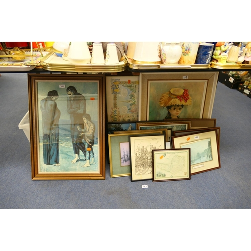 133 - Quantity of framed prints including Picasso's 'The Tragedy'; also framed maps and needleworks of Wel...