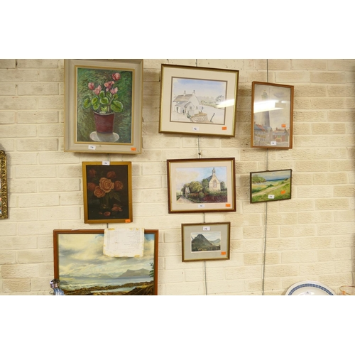 14 - Two still life oil paintings, framed watercolour of a lighthouse and five further pictures (8)...