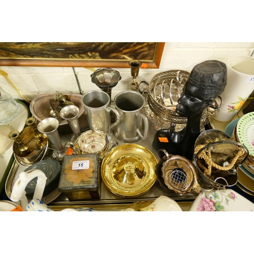 15 - Mixed metal wares including silver plate, pewter etc...