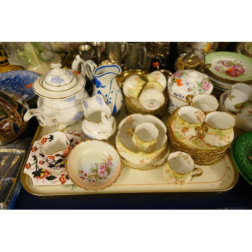 16 - Victorian teapot matching milk jug, Wileman china trio, Limoges porcelain tea wares etc...