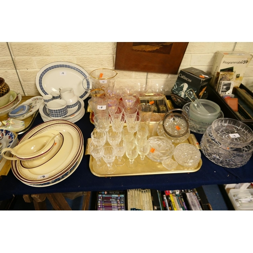 18 - Pottery dinner wares including Royal Doulton, mixed glassware including boxed Coronation toasting gl...
