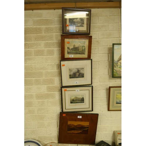 19 - Four framed engravings of British landmarks and a marquetry wooden panel (5)...