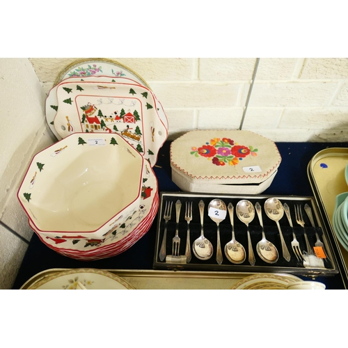 2 - Mason's Christmas Village pottery dinner plates, serving plates, bowl and two Indian Tree pattern pl...