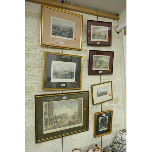24 - Seven framed topographical engravings...