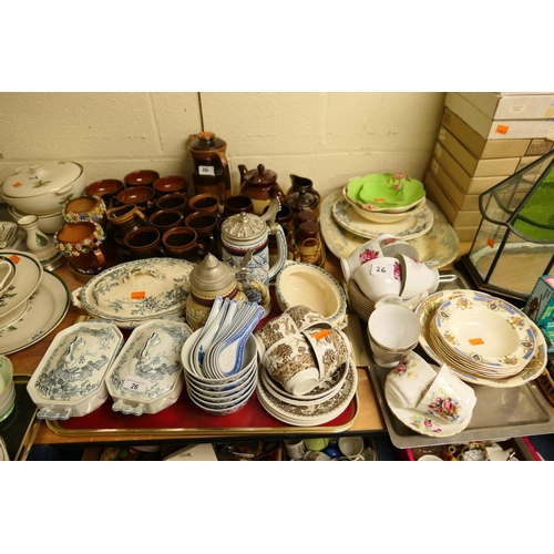 26 - Pair of Victorian aesthetic period Printware sauce tureens, other mixed ceramics including coffee wa...