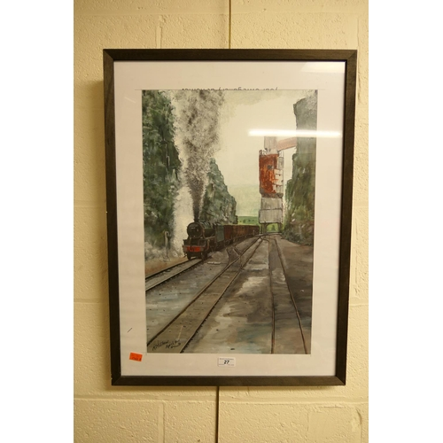 27 - Kevin M Shaw, steam freight train, signed gouache painting...