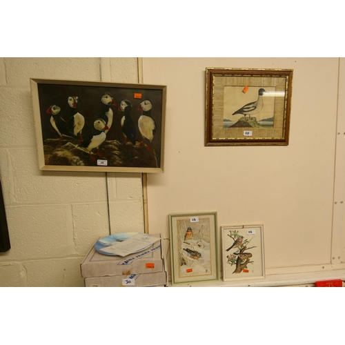 28 - Framed oil painting of puffins, three further bird pictures (4)...