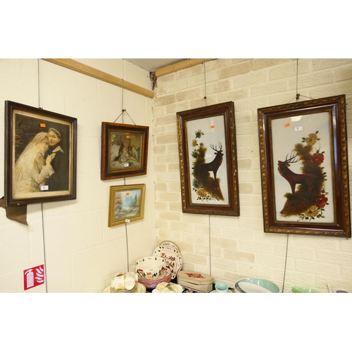 3 - Pair of Victorian framed paintings on glass, the Monarchs of the Glen, two further Victorian prints ...