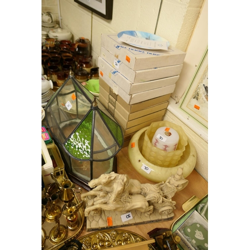 30 - Bradford Exchange and other collectable plates, retro glass lampshades, glass terrarium and a resin ...