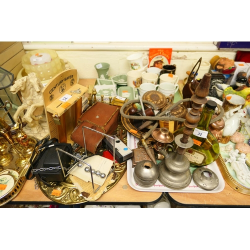 32 - Mixed collectables including pewter hookah pipe, cameras, alarm clock etc...