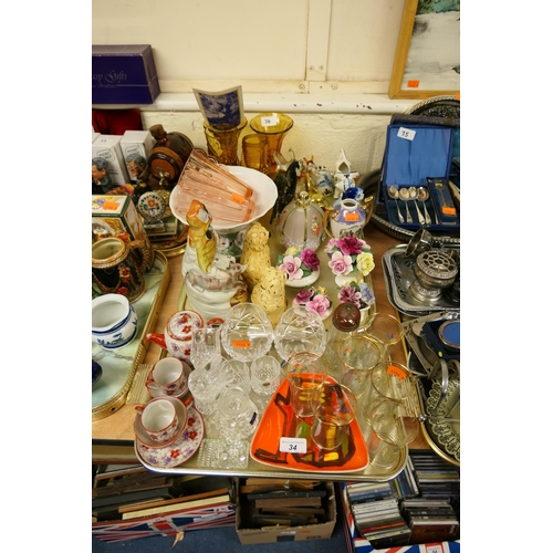 34 - Mixed ceramics and glass including Victorian Staffordshire Red Riding Hood figure, Poole dish etc (2...