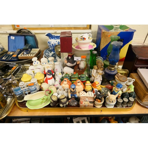 38 - Collection of novelty condiments, ornamental oil lamps etc...