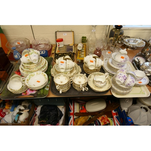 41 - Victorian china tea service, KPM porcelain tea service and a further china tea service (3 trays)...