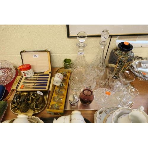 42 - Ornamental brass wares, vintage automobile shot glasses, mixed glassware and a Satsuma vase...