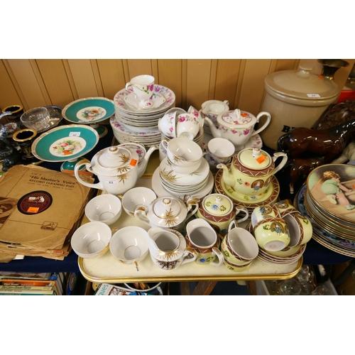 53 - Japanese porcelain tea wares including lithophane gilt Bamboo pattern tea service (2 trays)...