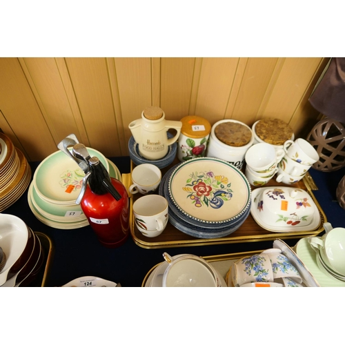 57 - Susie Cooper Crown Works plates and bowls, other mixed ceramics including a vintage soda syphon...