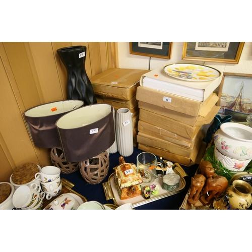 59 - Quantity of collectors' plates, decorative pottery table lamps, vases, Cottageware teapot etc...