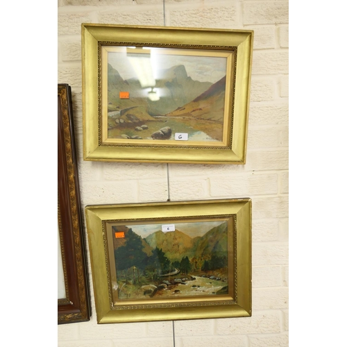 6 - Pair of framed Snowdonia landscapes, signed G Howarth, dated 1921...