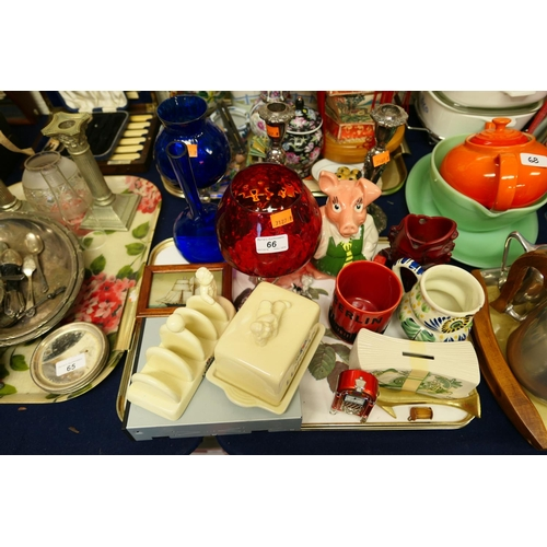 66 - NatWest piggy bank, other novelty ceramics, glassware and a pair of silver plated candlesticks...