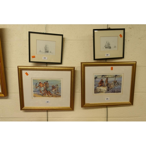 69 - Pair of signed limited edition prints, two further maritime prints (4)...