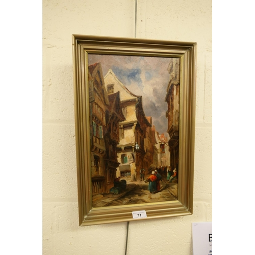 71 - W. Allen, continental street scene, oil on canvas in later gilt frame...