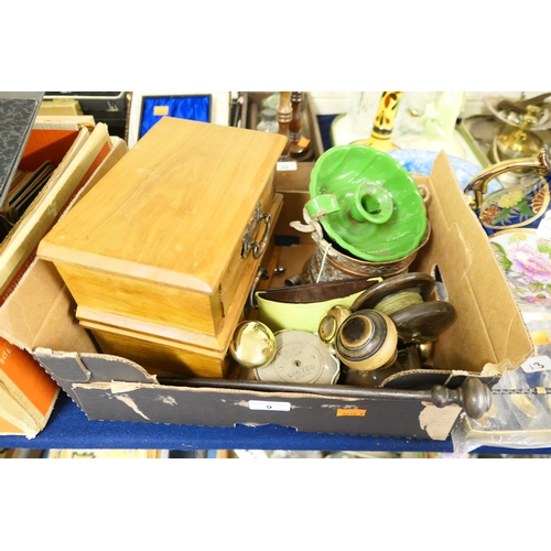 9 - Vintage fishing reel, door furniture, jewellery chest etc...